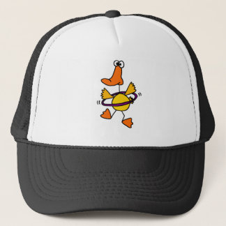 Duck Playing with Purple Hula Hoop Cartoon Trucker Hat