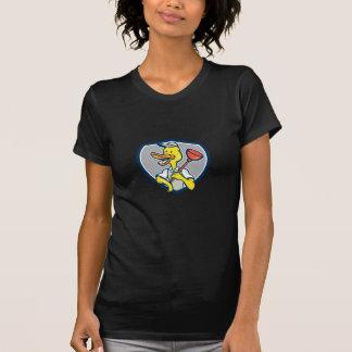 Duck Plumber Holding Plunger Shield Cartoon Tee Shirt