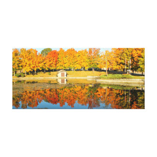 Duck Pond in the Fall Gallery Wrapped Canvas