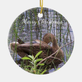 Duck Preening in the Reeds Christmas Ornament