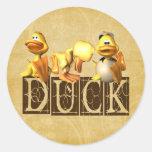 Duck! Round Sticker