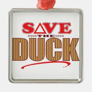 Duck Save Silver-Colored Square Decoration