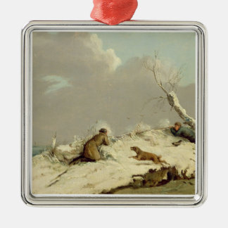 Duck Shooting in Winter (oil on canvas) Christmas Ornament