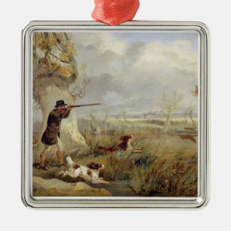 Duck Shooting (oil on canvas) Silver-Colored Square Decoration