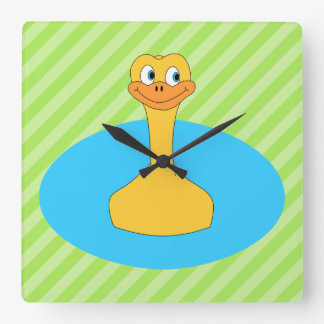 Duck Swimming in a Pond. Square Wall Clock