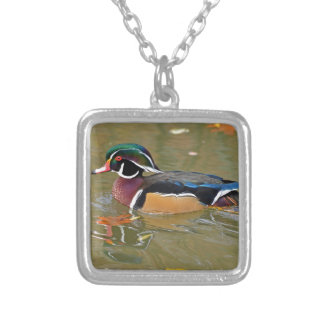 DUCK SWIMMING IN LAKE. BEAUTIFUL  WOOD DUCK GIFT SQUARE PENDANT NECKLACE