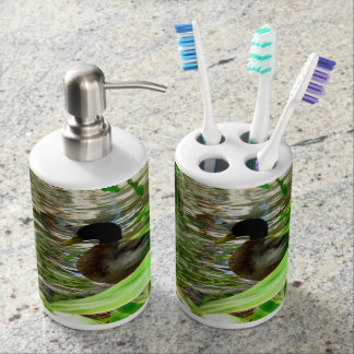 Duck Toothbrush Holder and Soap Dispenser Set