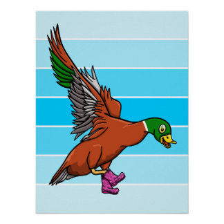 Duck With Boots On Illustration Poster