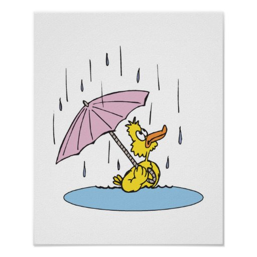 duck with umbrella poster