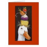 duck with veggie hat card
