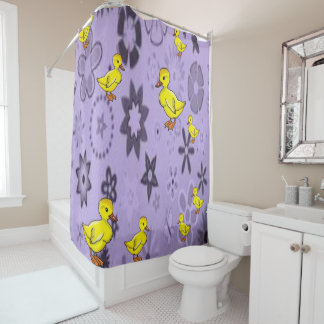 Duck yellow childrens purple showercurtain shower curtain