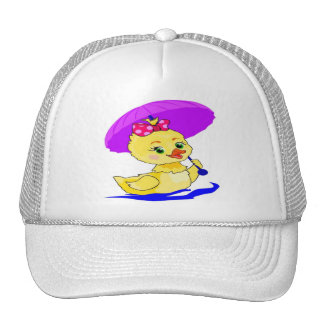 Duckling with a purple umbrella mesh hats