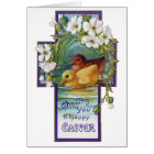 Ducklings in Cross Vintage Easter Card