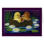 Ducklings in Eggshell Boat with Water Lilies Card