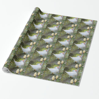 ducks and chiks on lake wrapping paper
