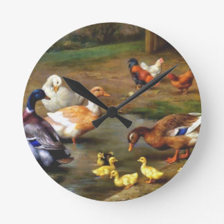 Ducks and ducklings round clock