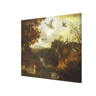 Ducks and other birds about a stream in an Italian Canvas Print