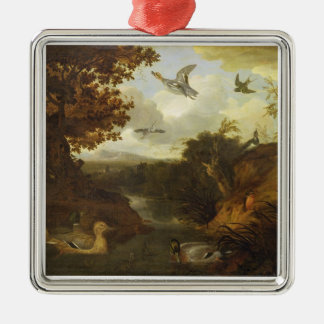 Ducks and other birds about a stream in an Italian Silver-Colored Square Decoration