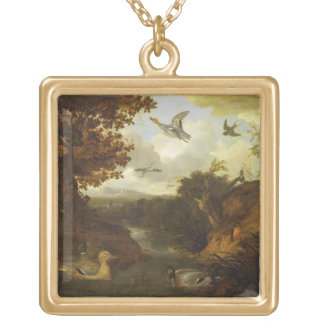 Ducks and other birds about a stream in an Italian Square Pendant Necklace