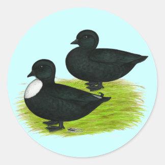 Ducks:  Black Calls Round Sticker