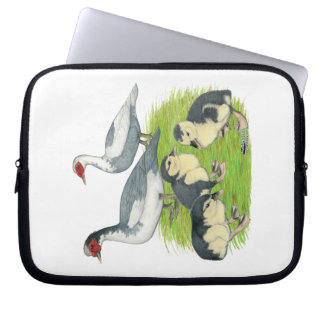 Ducks Blue Pied Muscovy Family Laptop Computer Sleeves