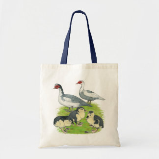 Ducks Blue Pied Muscovy Family Budget Tote Bag