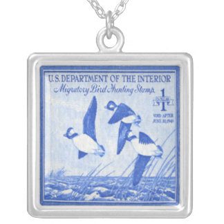 Ducks Bufflehead Postage Stamp Necklace