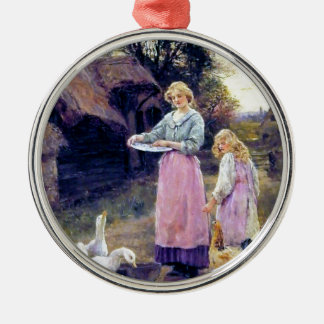 Ducks Hen Chicken Farm Birds Mother Daughter Silver-Colored Round Decoration