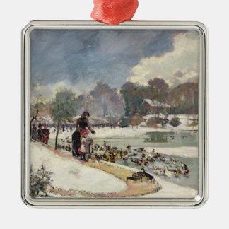 Ducks in the Bois de Boulogne Silver-Colored Square Decoration