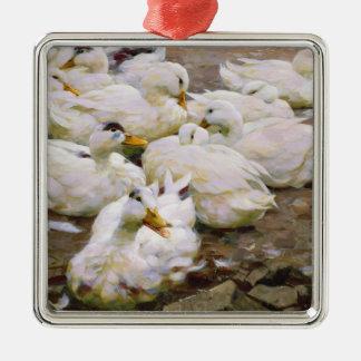 Ducks on a pond christmas ornament