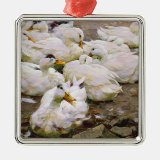 Ducks on a pond Silver-Colored square decoration