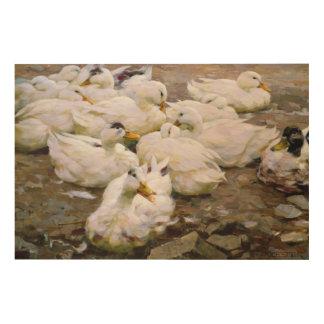 Ducks on a pond wood print
