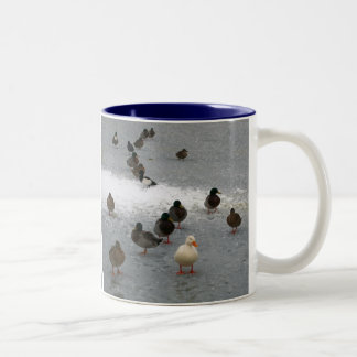 Ducks on Ice Two-Tone Coffee Mug