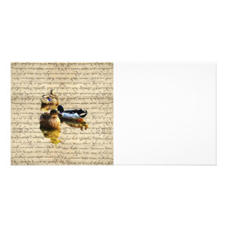 Ducks on vintage paper personalized photo card
