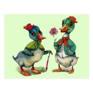 Ducks Romantic Couple Love Boy Girl Vintage Art Postcard