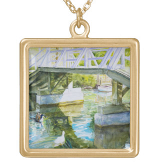 Ducks Under a bridge Gold Plated Necklace