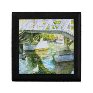 Ducks Under a bridge Small Square Gift Box