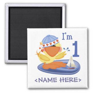 Ducky Boy 1st Birthday Square Magnet
