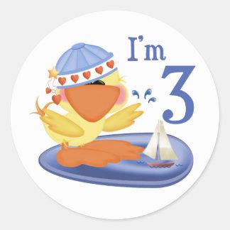 Ducky Boy 3rd Birthday Round Stickers