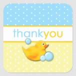 Ducky Bubbles - Blue Thank You Stickers