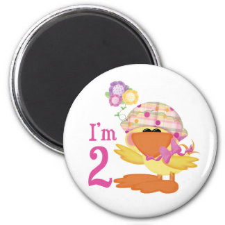 Ducky Girl 2nd Birthday 6 Cm Round Magnet