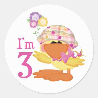 Ducky Girl 3rd Birthday Round Sticker