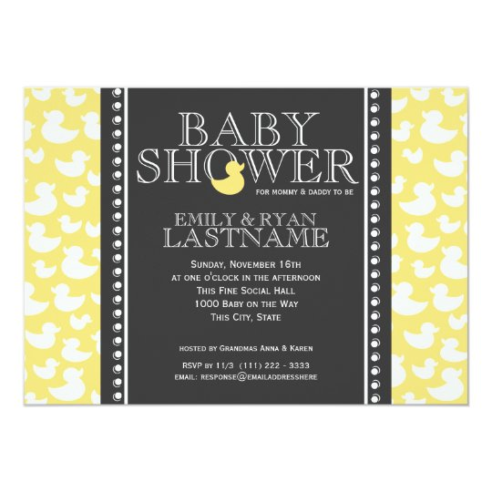 Ducky Pattern Baby Shower Card