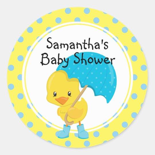 Ducky with Umbrella Baby Shower Round Sticker