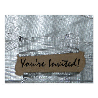 Duct Tape and Ripped Cardboard  Tag Invite