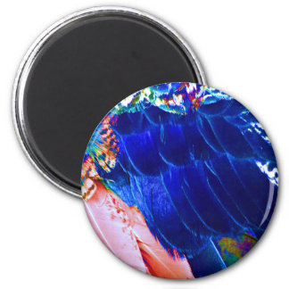 Dude Blue Peafowl Feather 6 Cm Round Magnet
