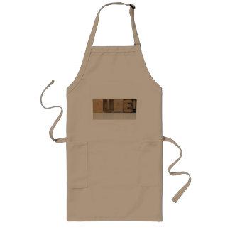 dude! in old wood type long khaki apron
