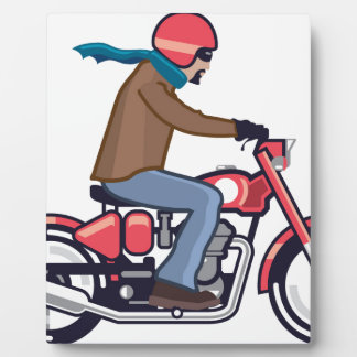 Dude on Motorcycle Display Plaques