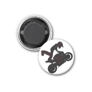 Dude up on one, motorcycle lover fridge magnet