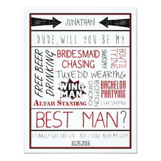 Dude, Will you be my Best Man? Red/Black Collage Card